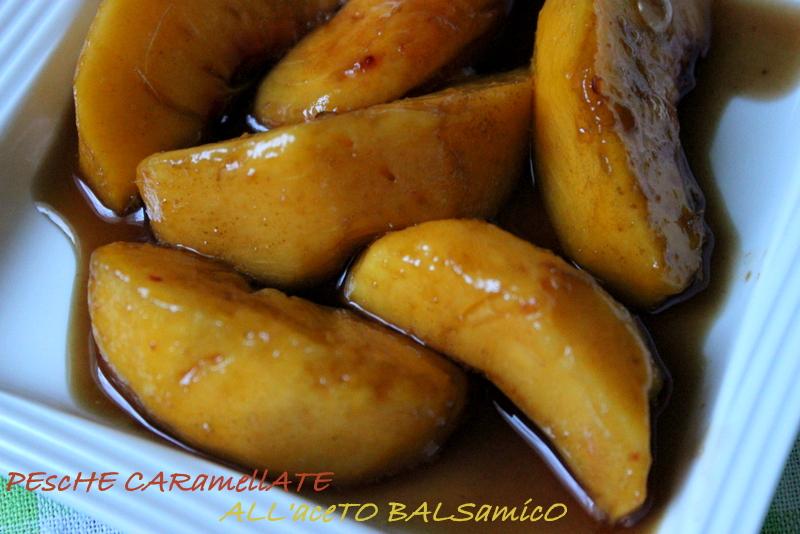 pesche caramellate con aceto balsamico