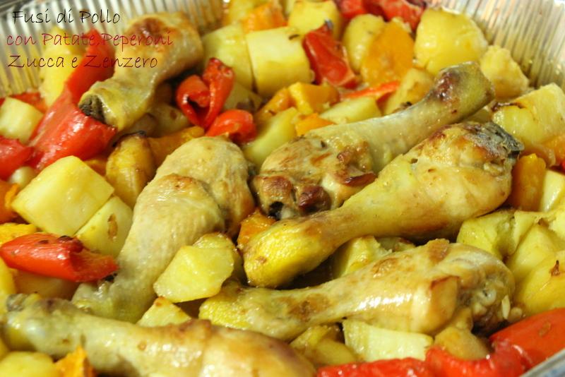 fusi di pollo con patate peperoni zucca e zenzero