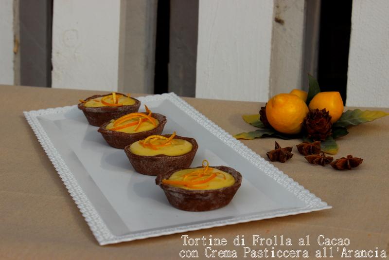 crostatine al cacao con crema all'arancio