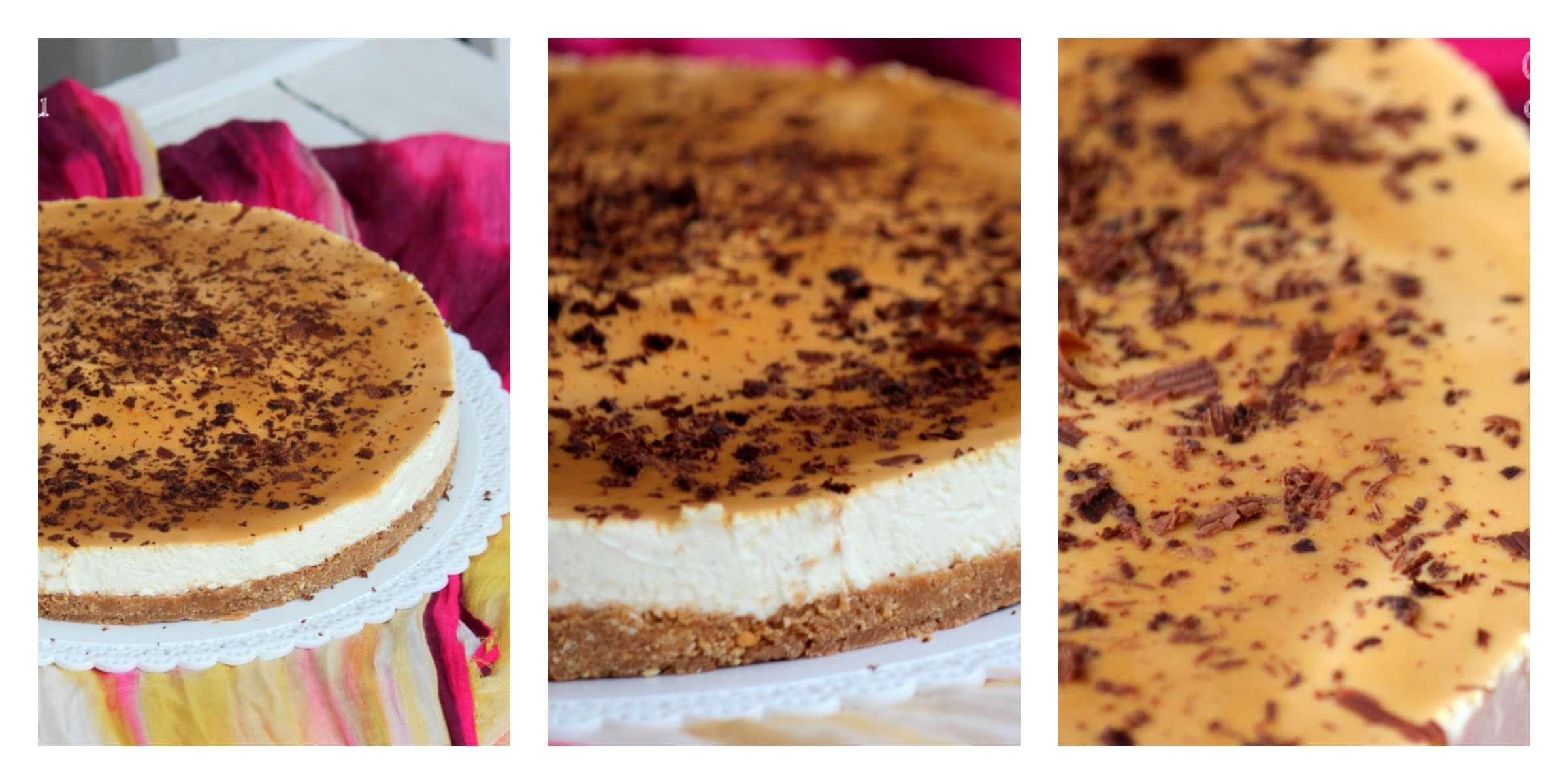 cheesecake alla vaniglia e salsa al caramello