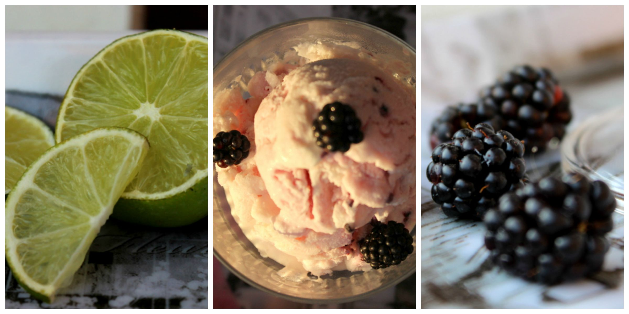 gelato con more e lime