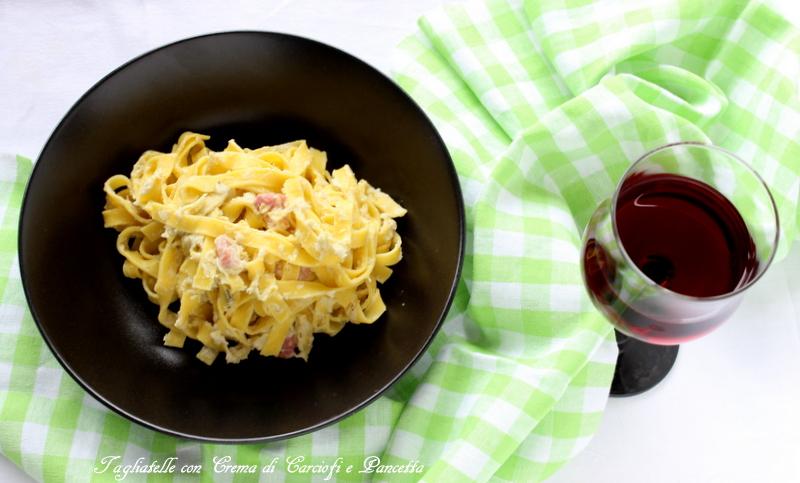 tagliatelle carciofi e pancetta