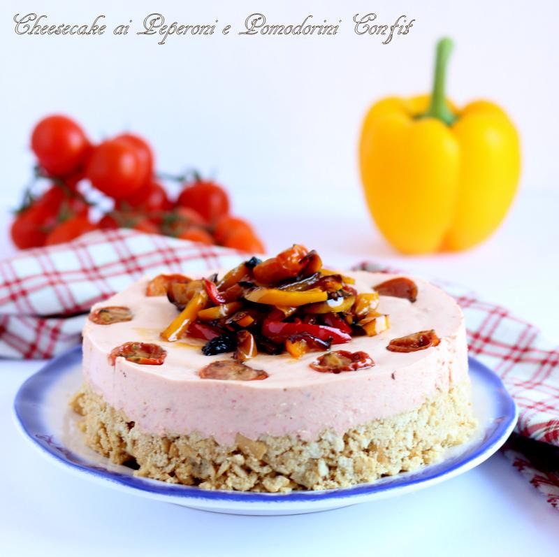 Cheesecake salata ai peperoni e pomodorini